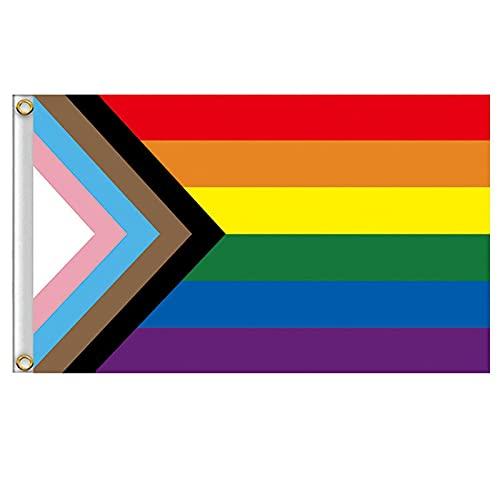 Bandera Trans Grande 90x150cms, Bandera Gay Balcón Para Exterior Reforzada Y Con 2 Ojales Metálicos, Bandera Orgullo Gay Pride Flag Bandera Arcoiris (10 PCS)
