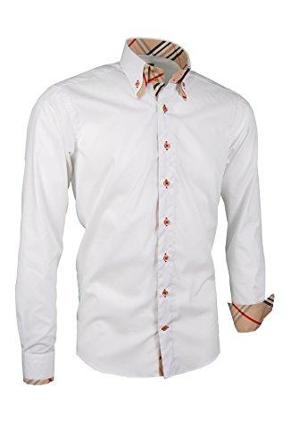 Giorgio Capone Premium Herrenhemd, 100% Baumwolle, weiß, Doppelkragen mit Streifen-Look, Langarm, Slim/Normal Fit & Plus Size (XL Regular-Plus mit Brusttasche)