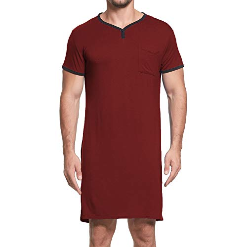Lu's Chic Men's Nightshirt Short Sleeve Long Nightgown Henley V Neck Sleep Gowns with Pocket Nightwear for Sleeping Red Medium