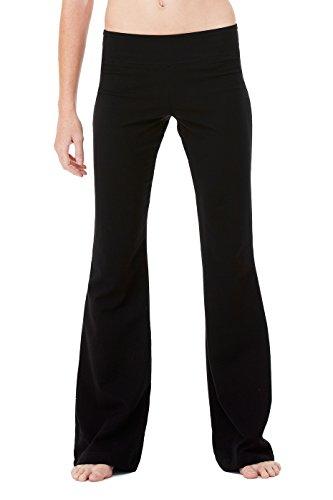 Ladies' Cotton/Spandex Yoga Pant, Color: Black, Size: XX-Large