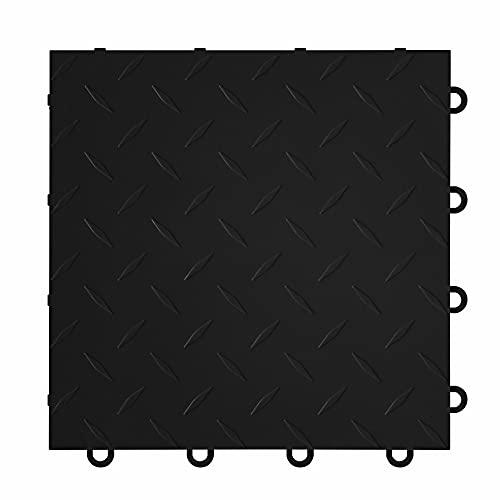 "IncStores ⅜ Inch Thick Nitro Interlocking Garage Floor Tiles | Plastic Floor Tiles for a Stronger and Safer Garage, Workshop, Shed, or Trailer | 12""x12"" Tiles, Diamond, Black, Pack of 52"