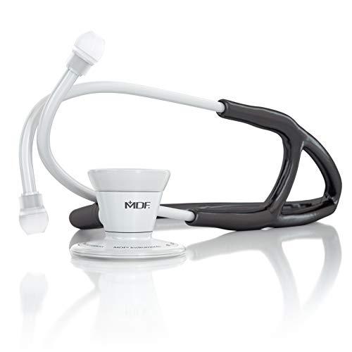 MDF ProCardial Estetoscopio de Cardiología, Doble Cabeza, Adulto, MDF797WO11 (Todo Blanco/Negro, Acero Inoxidable)