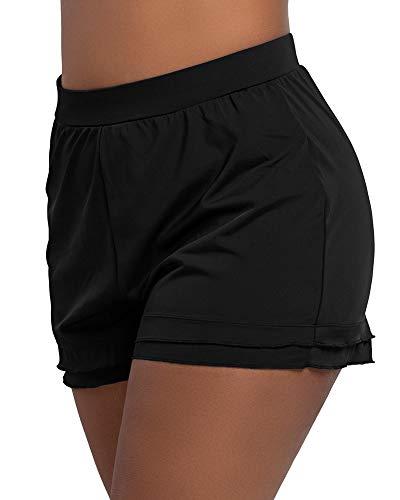 KEEPRONE Women's Swimsuit Shorts Plus Size Boardshorts Girls Swim Bottoms Swimwear Trunks Black
