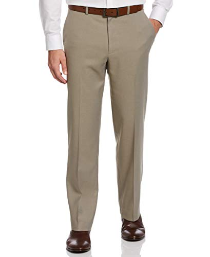 Perry Ellis Men's Portfolio Classic Fit Nailshead Dress Pant, Chinchilla, 42W x 30L