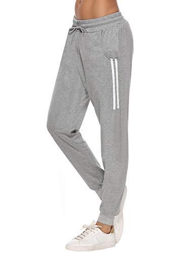 Sykooria Damen Jogginghose Sporthose Lang Yoga Hosen Freizeithose Laufhosen Baumwolle High Waist Trainingshose für Frauen mit Streifen-Streifen B-grau-S