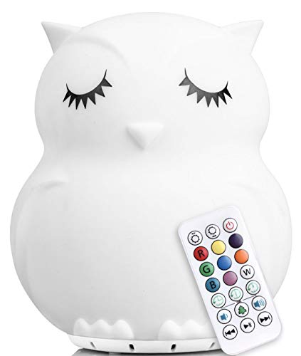 LumiPet Owl Kids Night Light, Huggable Nursery Light for Baby and Toddler, Silicone LED Lamp, Remote Operated, Streaming Music, USB Rechargeable Battery, 9 Available Colors, Timer Auto Shutoff