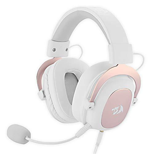 Redragon H510W ZEUS 2 WHITE - Auriculares headset cómodos para Gaming - Audio de Alta Definición + Potentes Bajos - Cascos blancos con Micrófono para PC, Móvil, PS4 - Sonido 7.1 + Software descargable