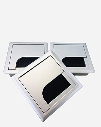 Tapa Pasa Cables Mesa Cuadrada- Cubierta Plástico Escritorio Mesa Oficina- Organizador Cables- Embellecedor Despacho- 3 Unidades Plata- 80x80