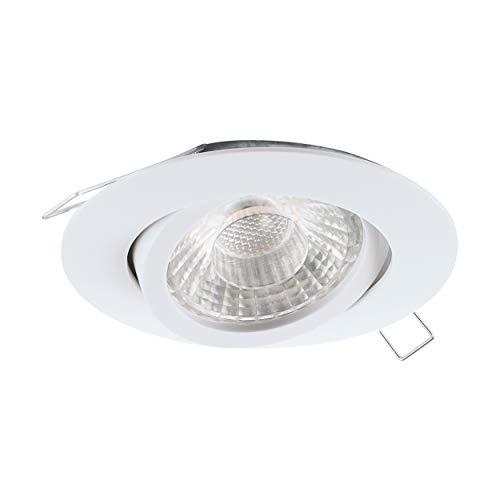 EGLO Einbaustrahler Tedo 1, Spot aus Aluminiumguss in Weiß, Einbauleuchte mit GU10 Fassung, LED Leuchtmittel inklusive, Einbaustrahler flach, schwenkbar, Ø 8 cm