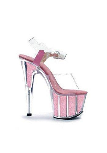 Ellie Shoes Women's 709-Glitter Platform Sandal - Dancer Stiletto, Pink, Size 7