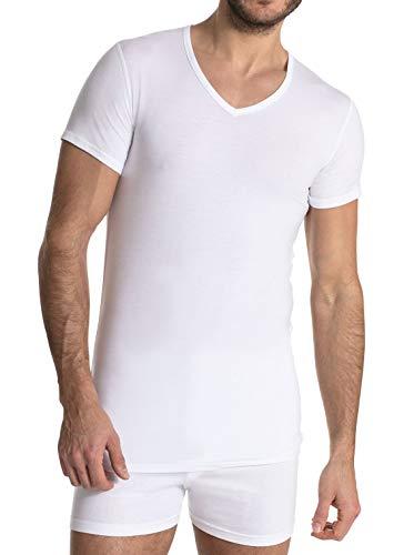 FINN Business Herren Unterhemd Kurzarm mit V-Ausschnitt Micro-Faser Unterziehshirt Hemd Männer Weiss M