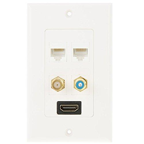 Yuzhigang Plug Panel HDMI Hembra de Enchufe + RCA Hembra del Enchufe + 2 x 8 Pines Panel línea Placa Ethernet RJ45 Conectores de Pared