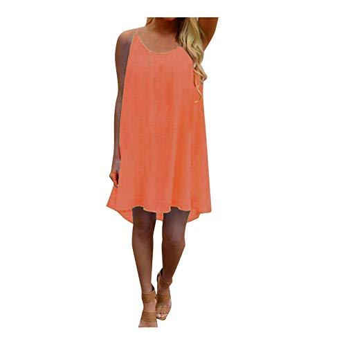 Dicomi Sommer Damen Tank Top Elegant Shirt Oberteile Mode Spaghettiträger Zurück Howllow Out Chiffon Beach Short Dress