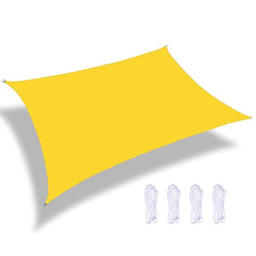 YTQ Velas de Sombra con Forma De Vela Rectangular 95% Toldo De Bloque UV Patios Al Aire Libre Jardín Patio Trasero Pérgola Decking Piscina Amarillo Varios Tamaños(Size:3 * 6m)