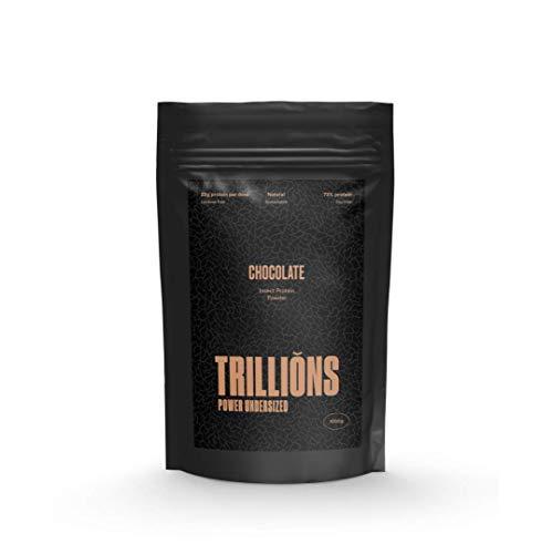 Trillions | Proteína de insecto y proteína de guisante , sabor Chocolate , ingredientes naturales, sin lactosa, 73% de proteína, 1kg