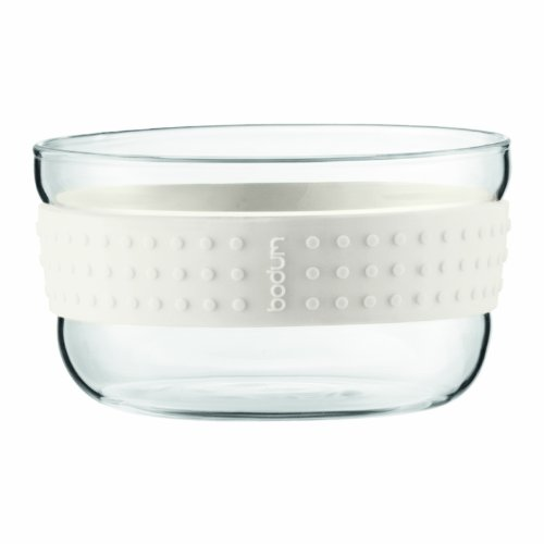 Bodum PAVINA 2-teiliges Salatschüssel-Set aus Glas (Rutschfester Silikonring, Spülmaschinengeeignet) cremefarben