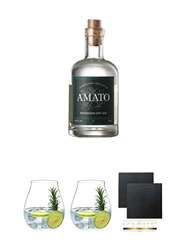 Amato Gin Deutschland 0,5 Liter + Gin Tonic Glas - 5414/67 + Gin Tonic Glas - 5414/67 + Schiefer Glasuntersetzer eckig ca. 9,5 cm Ø 2 Stück