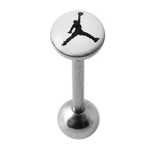 Basketball-Spieler auf weißem Hintergrund Logo 316L chirurgischer Stahl Zunge Piercing-Schmuck