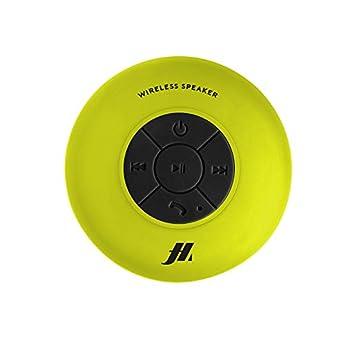 Foto di Speaker con ventosa, tasti per musica e chiamate, microfono integrato e vivavoce, protetto dall'acqua per utilizzo in doccia, bagno, piscina e cucina, colore giallo