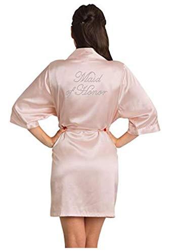 Brautjungfer Robe Hochzeit Braut Frauen Nachtwäsche Nachtwäsche Weißes Brautkleid Bademantel Nachtkleid Nachtwäsche Nachthemd Home Wear Hellrosa Maid of HM