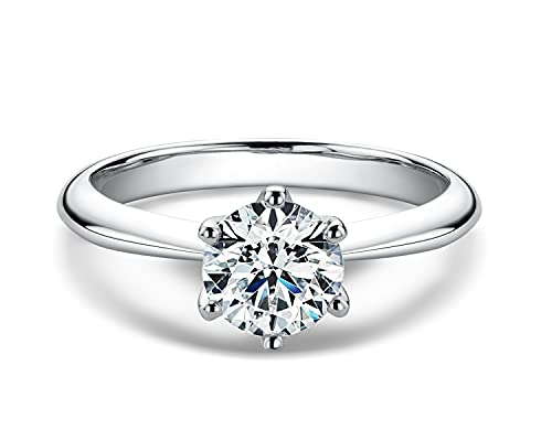 AINUOSHI Platinum Plated Silver 1ct 6.5mm Round Cut Moissanite Solitaire Engagement Ring...