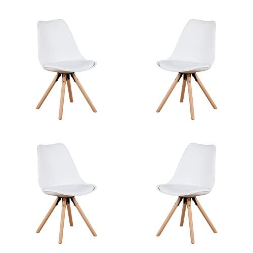 Nodic - Silla de comedor moderna para cocina, sala de estar, dormitorio, silla de pie de madera, juego de 2/4/6/8 (blanco-E, 8)