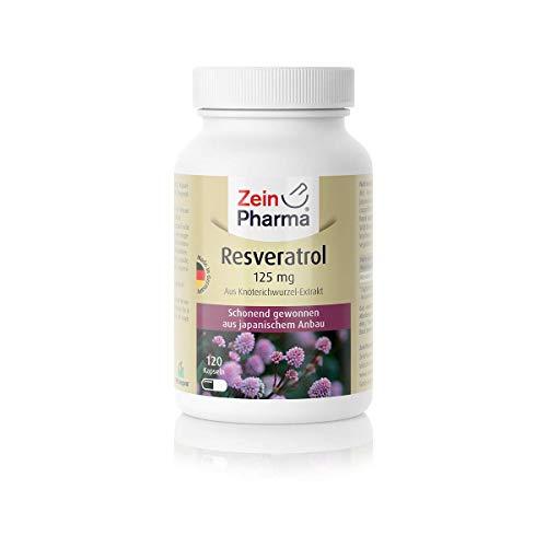 ZeinPharma Resveratrol 125 mg 120 Kapseln (4 Monate Vorrat) Glutenfrei, vegan, koscher & halal Hergestellt in Deutschland, 72 g