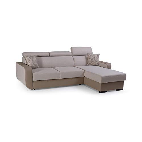 mb-moebel Ecksofa mit Schlaffunktion Eckcouch mit Bettkasten Sofa Couch Wohnlandschaft L-Form Polsterecke Pedro (Cappuccino, Ecksofa Rechts)