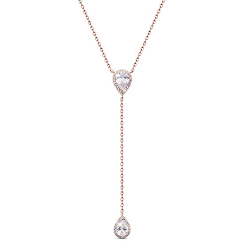 SHEGRACE Lariat Necklace for Women 925 Sterling Silver Y-Shaped Necklace with AAA Cubic Zirconia, 400mm, Gift for Valentine's Day Christmas Birthday Anniversary