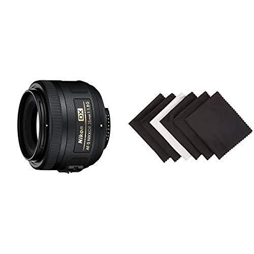 Nikon AF-S DX Nikkor 35mm 1:1,8G Objektiv (52mm Filtergewinde) Amazon Basics - Mikrofaser-Reinigungstuch für elektronische Geräte, 6er-Pack