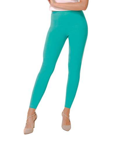 BeComfy Damen Leggings Knöchellang Blickdichte aus Baumwolle Casual Lange Hosen Schwarz Rot Grau Graphit Beige Blau Größe: 36,38,40,42,44,46,48,50,52,54,56 (36, Minze)