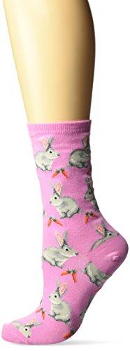 Hot Sox Women's Animal Series Novelty Casual Crew Socks, Bunnies (Pastel Pink), Shoe Size: 4-10