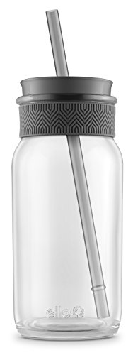 Ello Coachella BPA-Free Glass Sipper with Straw, Grey, 20 oz.