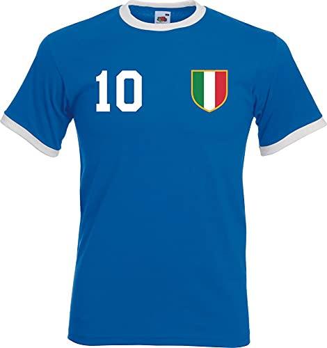 Youth Designz Maglietta da uomo Italia con nome e numero a scelta bianco/blu XL