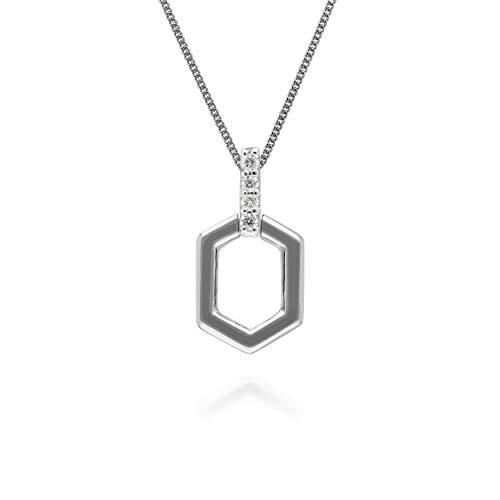 Gemondo Diamond Pave Hex Bar Ciondolo in oro bianco 9 ct
