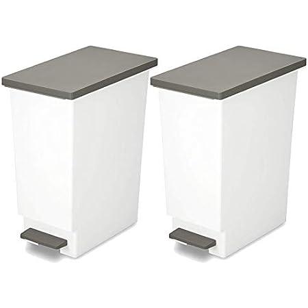 トンボ ゴミ箱 2個セット 45L 日本製 フタ付き ペダル式 分別 スリム ブラウン ネオカラー 新輝合成