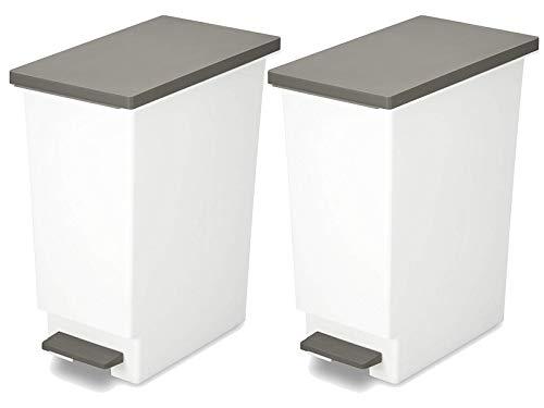 新輝合成 フタ付きゴミ箱 ネオカラー分別 ごみ箱 ペダルペール ブラウン 2個セット 45L
