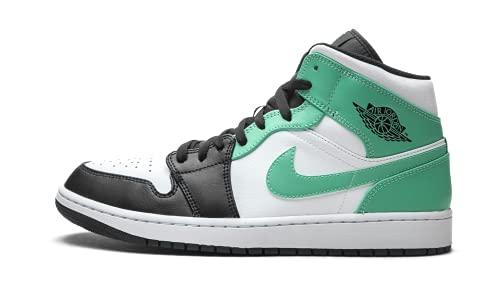 Nike Jordan 1 Mid Igloo 554724-132 para hombre, Blanco/ negro/ verde (White/Black/Island Green), 40 EU