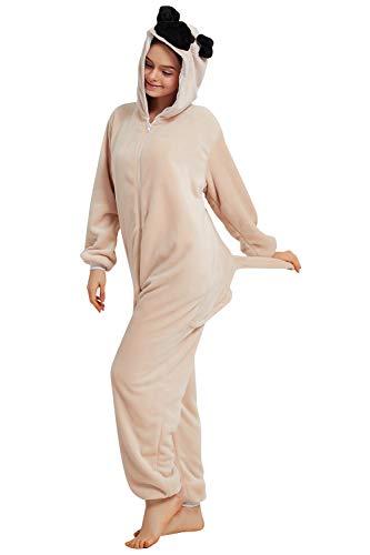 YAOMEI Adulto Unisexo Onesies Kigurumi Pijamas, Mujer Hombres Traje Disfraz Animal Pyjamas, Ropa de Dormir Halloween Cosplay Navidad Animales de Vestuario (S, Buldog)