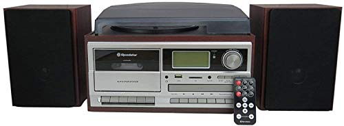 Roadstar HIF-8892 D+BT Brown Wooden Retro HiFi System 33 /45 /78 rpm Turntable Record Player with DAB / DAB + / FM Radio, CD Player, Bluetooth, Cassette Tape Recorder and USB / SD Encoding