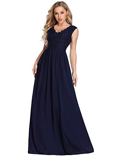 Ever-Pretty Vestido de Fiesta Largo Cuello V Encaje para Mujer Dama de Honor Volver Elástico Azul Marino 50