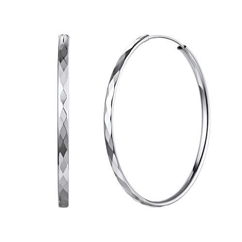 Silvora Plata Aros 50mm Medianos Pendientes de Cartilago para mujer chica Regalo novia cumpleaños San valentin