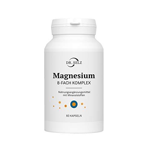 Dr. Selz Magnesium 8-FACH KOMPLEX, ausgewogene Mineralstoff-Mischung mit 8 verschiedenen Magnesiumverbindungen, 100{08a7af90d41bdceaead9b0c7bb0ee5578d5ec4f520d58e35a1420c4c58926101} vegan, Laborgeprüft, Premiumqualität, 60 Magnesium Kapseln