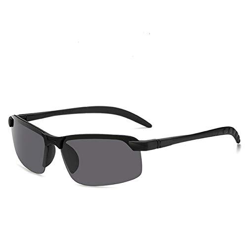 Uniqueheart Gafas de Sol polarizadas Inteligentes súper Ligeras Gafas de Sol de Pesca prácticas portátiles cuadradas de Aluminio y magnesio para Hombres - Negro Llama Negra, Lente Gris