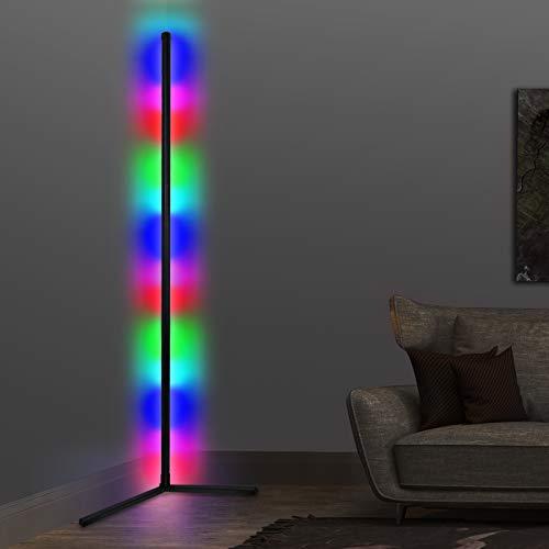 Moderna lámpara de pie LED regulable para salón, RGB, cambio de color negro, lámpara de pie con mando a distancia para habitación de los niños, dormitorio, 18 W, 156 cm de altura