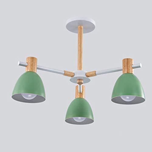 Bradoner Nórdico Minimalista Colorido Dormitorio Habitación Vestíbulo del Hotel Restaurante Sala De Conferencias Lámpara De Araña De Madera Maciza Pantalla De Lámpara (60 * 60 * 30 Cm)