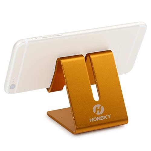 Honsky Solid Portable Universal Aluminum Desktop Desk Charging Stand Hands Free Mobile Smart Cell Phone Holder Tablet Display Stands, Cellphone Stand, Smartphone Mount Cradle, Gold