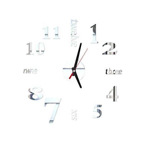 Vosarea DIY Reloj de Pared 3D Moderno Reloj Pared Sin Marco de Metal y acrílico con Inglés y números de Adhesivos Decorativos para Dormitorio decoración (Plata)