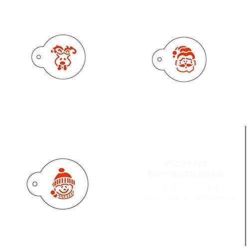 Juego de 3 moldes de Navidad con diseño de dibujos animados para tarta de azúcar y tartas, para café y polvo