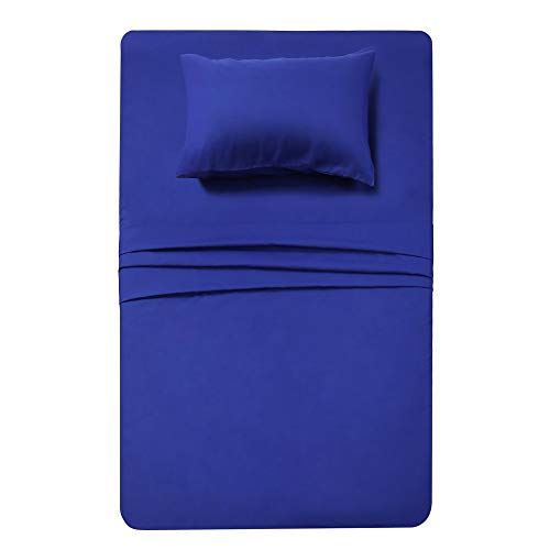 3 Piece Bed Sheet Set (Twin,Royal Blue) 1 Flat Sheet,1 Fitted Sheet and 1 Pillow Cases,Super Soft Brushed Microfiber 1800 Luxury Bedding,Deep Pockets &Wrinkle,Fade Resistant by Best Season